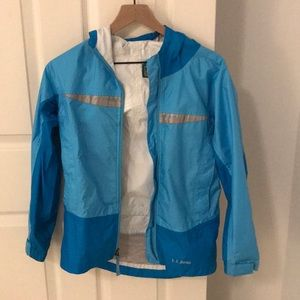 Blue LL Bean rain jacket